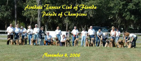 Champion Airedales Florida group photo